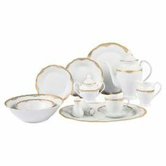 "57-piece porcelain dinnerware set with gold accents and settings for eight people. Includes salt and pepper shakers and a 5-piece tea set.         Product:    8 Dinner plates   8 Soup bowls   8 Salad plates    8 Tea cups   8 Tea saucers   8 Dessert bowls   Oval platter   Serving bowl    Salt and pepper set   Teapot and lid   Creamer    Sugar bowl and lid        Construction Material: Porcelain     Color: White and gold       Dimensions: Dinner Plate: 10.5"" Diameter eachSoup …"