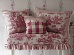 Red Country Life Toile: Want to do this in Black. French Decor, French Country Decorating, French Country House, Country Life, Red Cottage, French Fabric, Red Rooms, Sewing Pillows, Shabby Chic Bedrooms