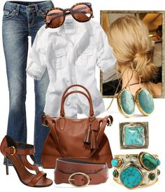 """Brown & Turquoise"" by gangdise on Polyvore"