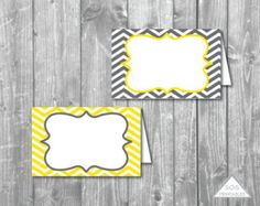 Gray and Yellow Chevron Labels Printable PDF by SOSPrintables