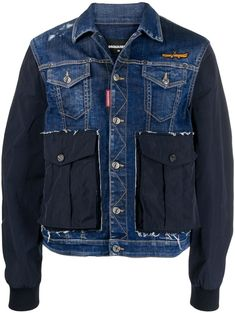 Shop online blue deconstructed denim jacket as well as new season, new arrivals daily. Jacket Style, Jeans Style, Men's Jacket, Fashion Wear, Denim Fashion, Men's Coats And Jackets, Black Jackets, Fall Jackets, Bomber Jackets