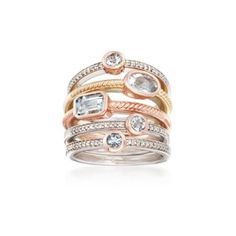 Ross-Simons Aquamarine, Diamond Jewelry Set: Five Stacking Rings... ($399) ❤ liked on Polyvore featuring jewelry, rings, tri color stackable rings, multi color diamond ring, aquamarine band ring, diamond jewelry and diamond band ring