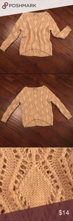 Chunky oversized sweater Cute and open knit sweater, fits slouchy and almost off the shoulder. Used lightly, I noticed a small stain, but I'm sure with the right treatment it would come out. Make an offer💕 Sweaters