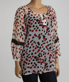 Love this White & Red Polka Dot Boatneck Top - Plus by Lebaz on #zulily! #zulilyfinds