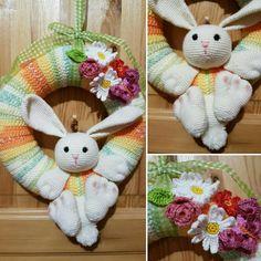 Crochet easter wreath, bunny wreath