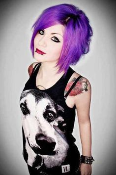 purple hair, cute shirt, love the piercings and tattoos