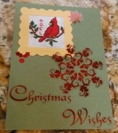 """Postcard Style """"Christmas Wishes"""" Cross Stitch Greeting Card with Red Cardinal """"NOEL"""""""