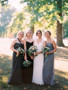 Gorgeous mix and match bridesmaids in shades of grey and black | Vintage Romantic St. Louis Wedding