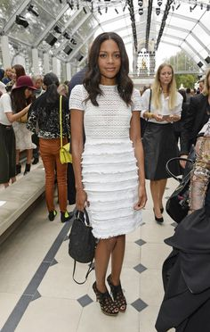 Celebrity Style Front Row at Burberry London Fashion Week Spring 2016 - Naomie Harris in a fringed LWD