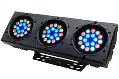 COLORado 3p IP is a highly efficient wash bank consisting of three pods of 18 ultra bright LEDs arranged in circles for a variety of indoor and outdoor wash applications. RGB color mixing in each pod can be controlled separately. Multiple units can be interlocked and stacked for blinder effects.,$190