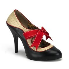 Retro Two-Tone Pumps with Red Bow