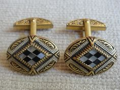 Brass Cufflinks - Inlay Mother of Pearl - Exquisite Detail by cherylanngoods on Etsy