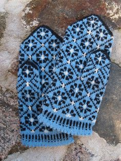 Finely Hand Knitted Mittens in Estonian Colors (Blue Black and White) FREE…