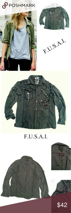 """FOCUS U.S.A. MILITARY GRUNGE SHIRT/JACKET FOCUS U.S.A. MILITARY GRUNGE SHIRT/JACKET Pre-Loved  /EUC / Pic for Similarity  RN# 7819 SZ Medium This is a Very COOL Jacket to Wear with Your Favorite Jeans! Zippers Everywhere, with Rollout Sleeves Clasped on the Side 100% Cotton Approx Meas;    *   Armpit to Armpit  21""""    *   Underarm Arm to Cuff  20"""" unrolled    *   Back Neck to Hem  28"""" Pls See All Pics. Ask ? If Ur Not Sure. FOCUS U.S.A. INC. Jackets & Coats"""