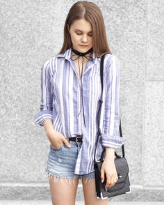 A Little Detail - Striped Button Up Shirt & 501s #levi501s #fashion #fashionblogger #outfit #summerfashion #womensfashion #style #outfit