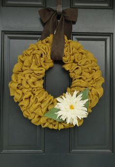 Spring Mustard Yellow Burlap Wreath with White Flower--Mustard Yellow Burlap Wreath--Spring Wreath--Summer Wreath--Burlap Wreath