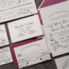 the everest suite. design highlights: classic black letterpress printing. spencerian — an exclusive smock calligraphy font. raspberry back patterning. antique charm.