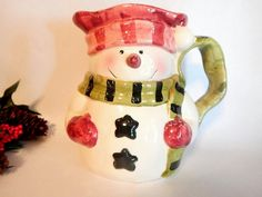 Snowman Beverage Serving Pitcher Pink and Green Ceramic Whimsical Snowman…