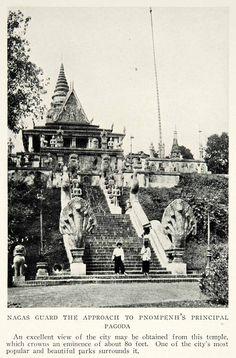 1928 Print Cambodia Phnom Penh Nagas Guards Pagoda Tower Capital NGMA1