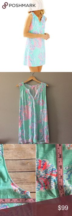 XL Sleeveless Essie Dress Lilly Pulitzer XL Sleeveless Essie Dress Lilly Pulitzer. Print is minty fresh FanSea. In great condition and sold out! Exact measurements pictured. No trades price firm Lilly Pulitzer Dresses Midi