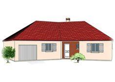 Modèle PC-48  Pavillon plain-pied avec garage comprenant cuisine, séjour, hall, salle de bains, WC, 3 chambres et 1 cellier.  Surface Habitable : 106,09m²