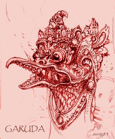 We had to illustrate or create an image based on a myth or mythology from any culture. Garuda subduing a serpent Sunday Images, Indian Gods, Character Description, Drawing Tools, Buddhism, Mythology, Character Art, Deviantart, Statue