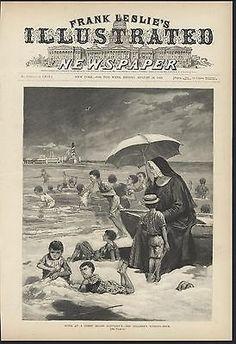 Coney Island Sanitarium Children Bathing Hour 1889 antique wood engraving Coney Island, Wood Engraving, How To Antique Wood, Worlds Largest, Bathing, Art Prints, Antiques, Children, Movie Posters