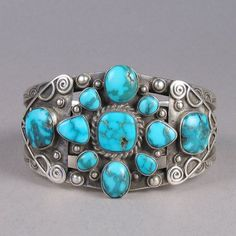 Cuff | Unknown Zuni Pueblo artist.  Sterling silver and turquoise.  ca. 1940