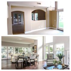 Before & After - The once divided family room and dining room at 3119 Corte Portofino in Newport Beach.