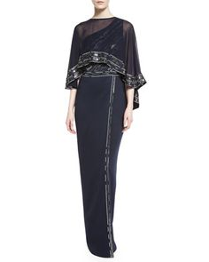 Silk Georgette Embellished Cape & Matte Shine Milano Knit One-Shoulder Gown by St. John Collection at Neiman Marcus.