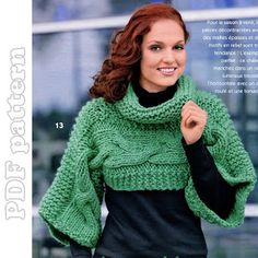 Large Cable Turtleneck Mini Sweater Knitting Pattern PDF | CraftyLine e-pattern shop