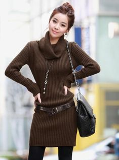 Sexy White Long Sleeves Cowl Neck Sexy Sweater Dress | Sweater