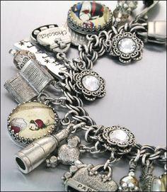 Charm Bracelet, Silver, Oh La La Paris, French, Vintage Inspired Jewelry
