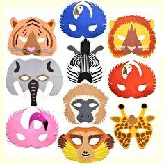 6 Rainforest Safari Jungle Animal Foam Masks Childrens Fancy Dress Theatre