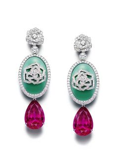 Piaget Rose Passion earrings in white gold set with pear shaped rubellites and chrysoprase surrounded by diamonds.