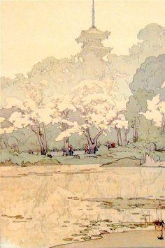 Hiroshi Yoshida - San Kei En, 1935 -  Woodblock - (1876-1950)