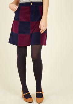 Patchwork It Out A-Line Skirt by ModCloth - Blue, Red, Patch, Casual, Boho, Vintage Inspired, 70s, A-line, Fall, Corduroy, Exclusives, Private Label, Short, Checkered / Gingham, Work, 60s, Winter, Woven, Better, Saturated, Store 1, ModCloth Label