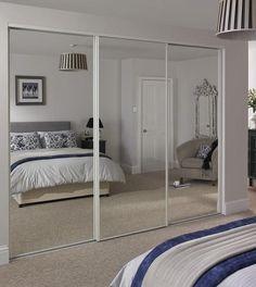 Bedroom with mirrored wardrobe Bedroom Closet Doors, Mirror Closet Doors, Wardrobe Design Bedroom, Master Bedroom Design, Closet With Mirror, Mirror Door, Small Room Bedroom, Home Decor Bedroom, Sliding Mirror Wardrobe