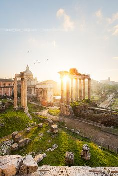 The Roman Forum, shown in the picture, was the center for public Roman life and…