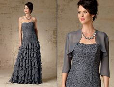 Mother of the Bride Beaded Strapless Gown