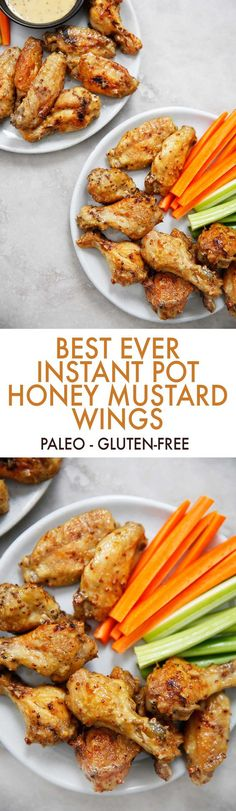 This Honey Mustard Chicken Wings recipe can be made in the Instant Pot or baked in the oven, and they are a crowd please. A perfect game day or dinner wings recipe that everybody will love. They are paleo-friendly and totally gluten-free, and get perfectly crispy with the right amount of sauce-y goodness! #instantpot #wings #honeymustard #glutenfree #paleo