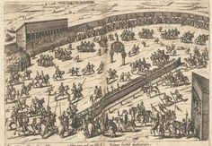 Illustration of the tournaments held during the wedding festivities of the parents of Anne of Cleves, John III, Duke of Cleves and Maria of Julich Berg. This marriage united the counties under the one Dukedom, which passed onto Anne of Cleves' brother, William, when their father died in 1543. The city of Dusseldorf is seen in the distance. Wives Of Henry Viii, King Henry Viii, Anne Of Cleves, Tudor, Screen Shot, Genealogy, Duke, Distance, Vintage World Maps
