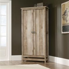 Bring earthy style to your bedroom with this Cottage Style Wardrobe Armoire Storage Cabinet in Light Oak Wood Finish. The Lintel Oak finish imitates a beachy, s Rustic Storage Cabinets, Rustic Kitchen Cabinets, Rustic Kitchens, Kitchen Storage, Wardrobe Storage Cabinet, Wardrobe Cabinets, Small Bedroom Storage, Wooden Wardrobe, Linen Cabinet