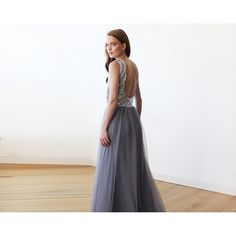 Backless Silver and grey sequins sleeveless maxi tulle Dress