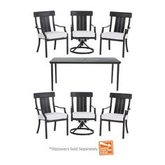 Hampton Bay Oak Heights 7-Piece Patio Dining Set with Cushion Insert (Slipcovers Sold Separately)-D12237-7PC-B - The Home Depot