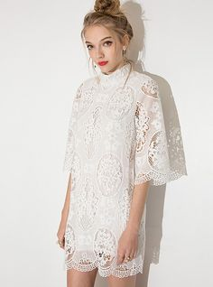 White Polyester Collar Stylish Short Lace Dress -  Shopping - The Best Deals on Lace Dresses