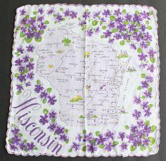 Vintage Handkerchief Wisconsin State Map Hankie Violets Travel Souvenir #Unbranded #StateSouvenir