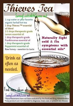 Fight Cold Flu Symptoms Quickly and Naturally - I got rid of my cold before it really even hit! I am so amazed at this tea recipe and highly recommend it! #essentialoils #youngliving