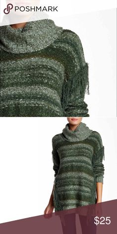 Kensie Cowl Neck Sweater beautiful emerald color sweater with fringe, brand new without tags  🛒Limited quantities. ❓Please ask all your questions before you buy so I can make your purchase absolutely perfect. Kensie Sweaters