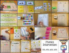 RTI: ink, ank, unk, onk Phonics Activities